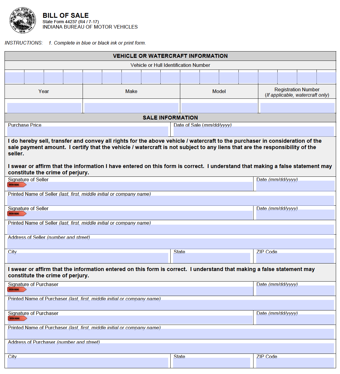 Free Indiana (Dmv) Bill Of Sale Form For Motor Vehicle