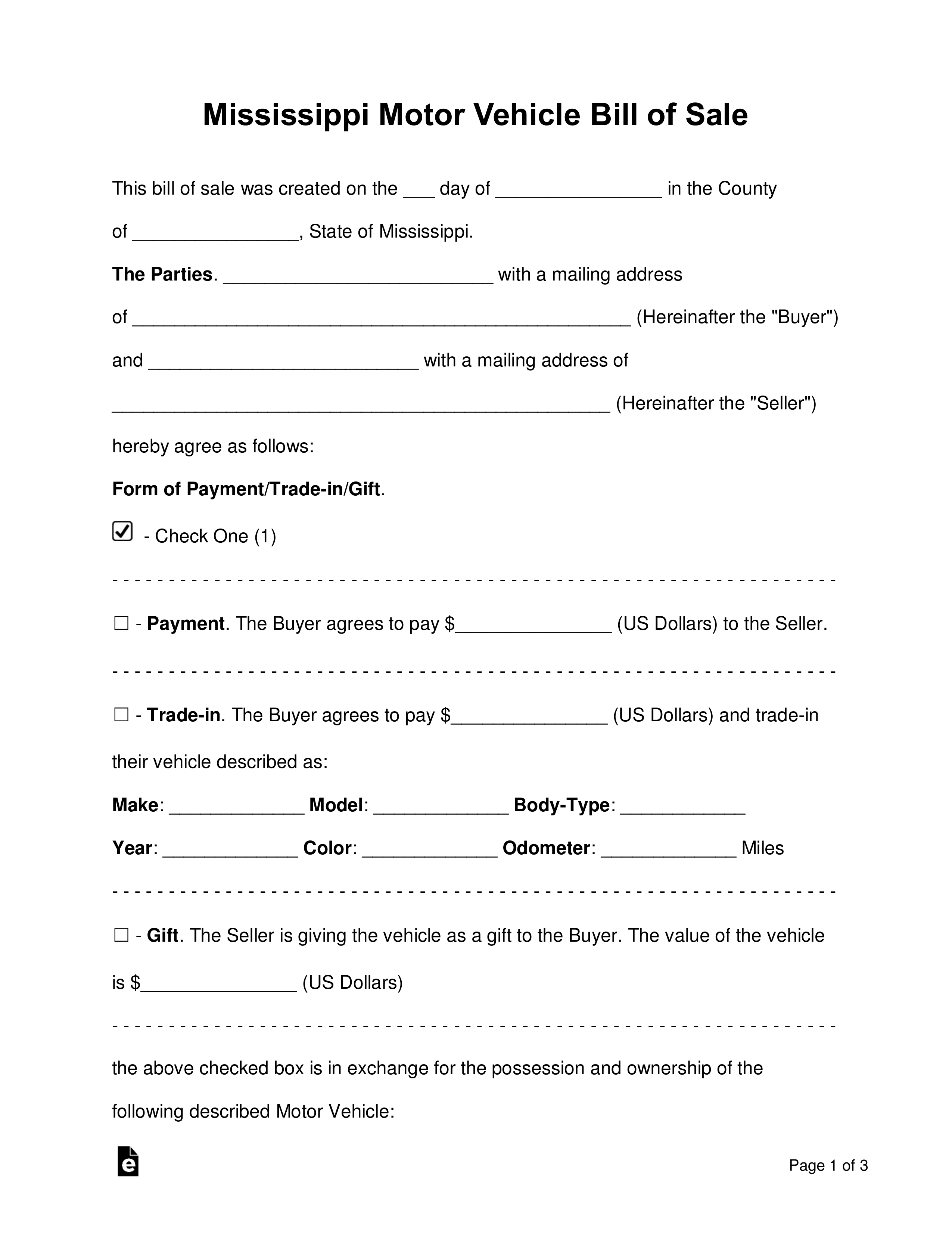 Free Mississippi Motor Vehicle Bill Of Sale Form - Word