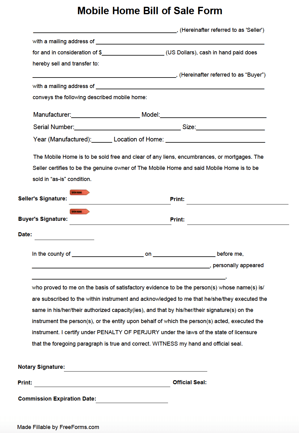 Free Mobile (Manufactured) Home Bill Of Sale Form   Pdf