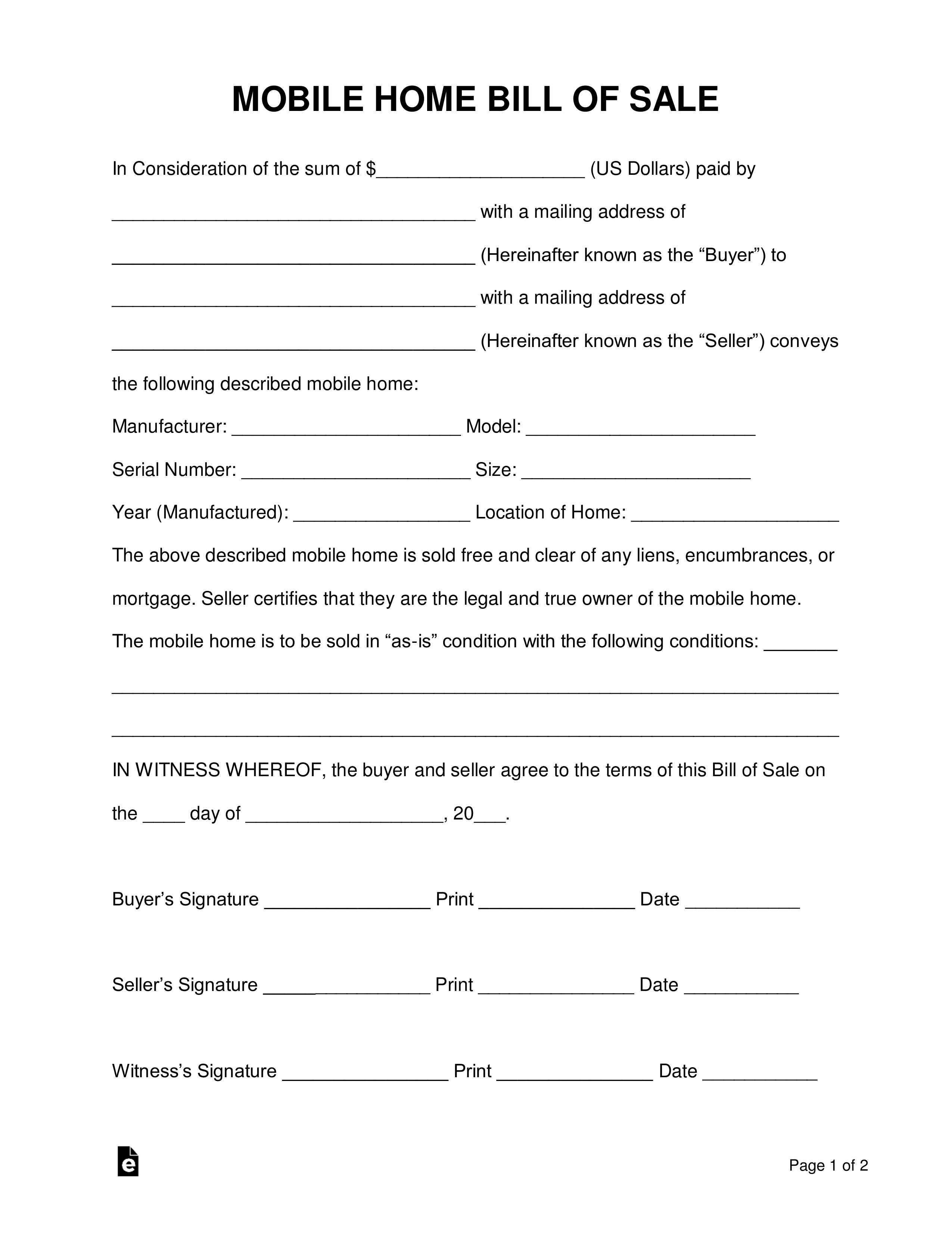 Free Mobile (Manufactured) Home Bill Of Sale Form - Word
