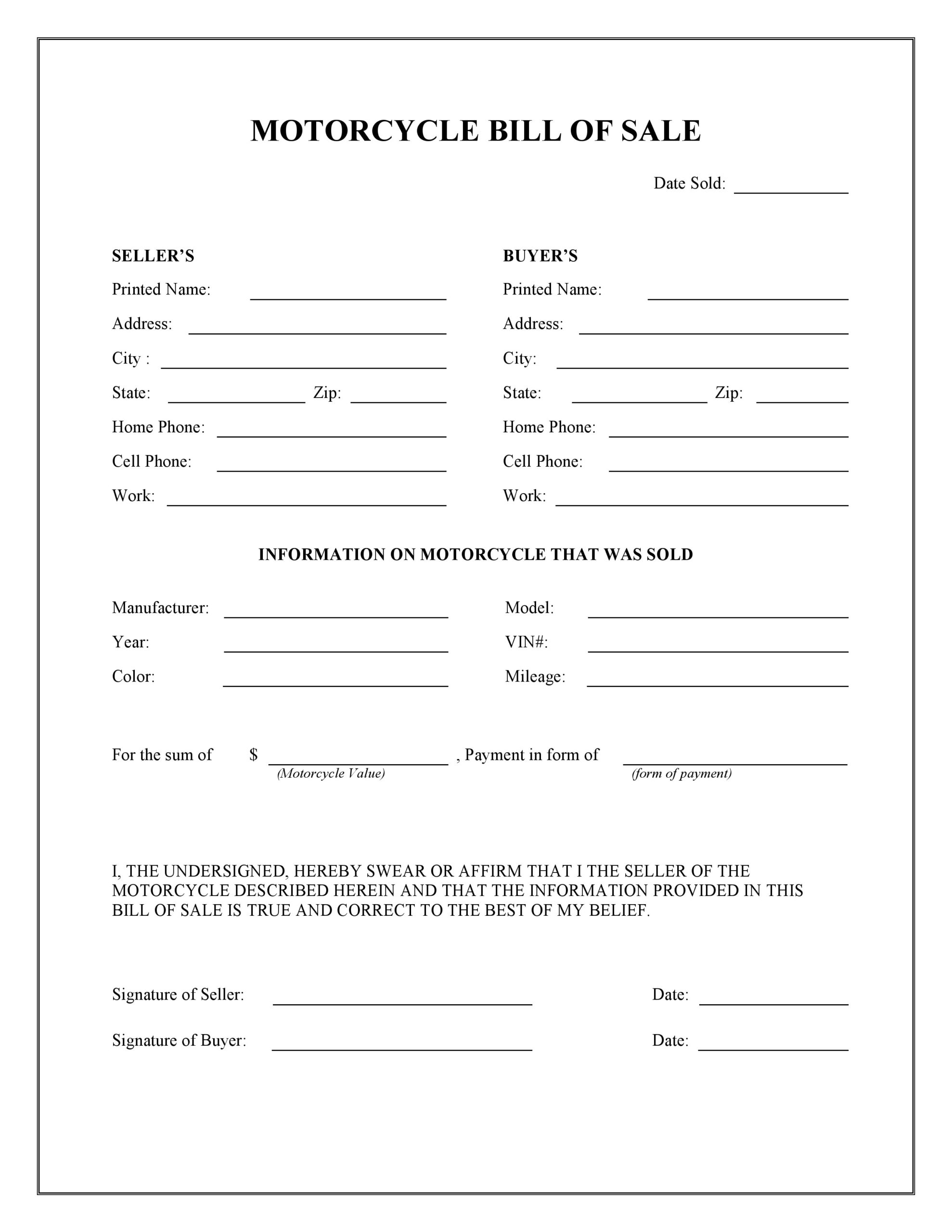Free Motorcycle Bill Of Sale Form   Pdf   Word   Do It