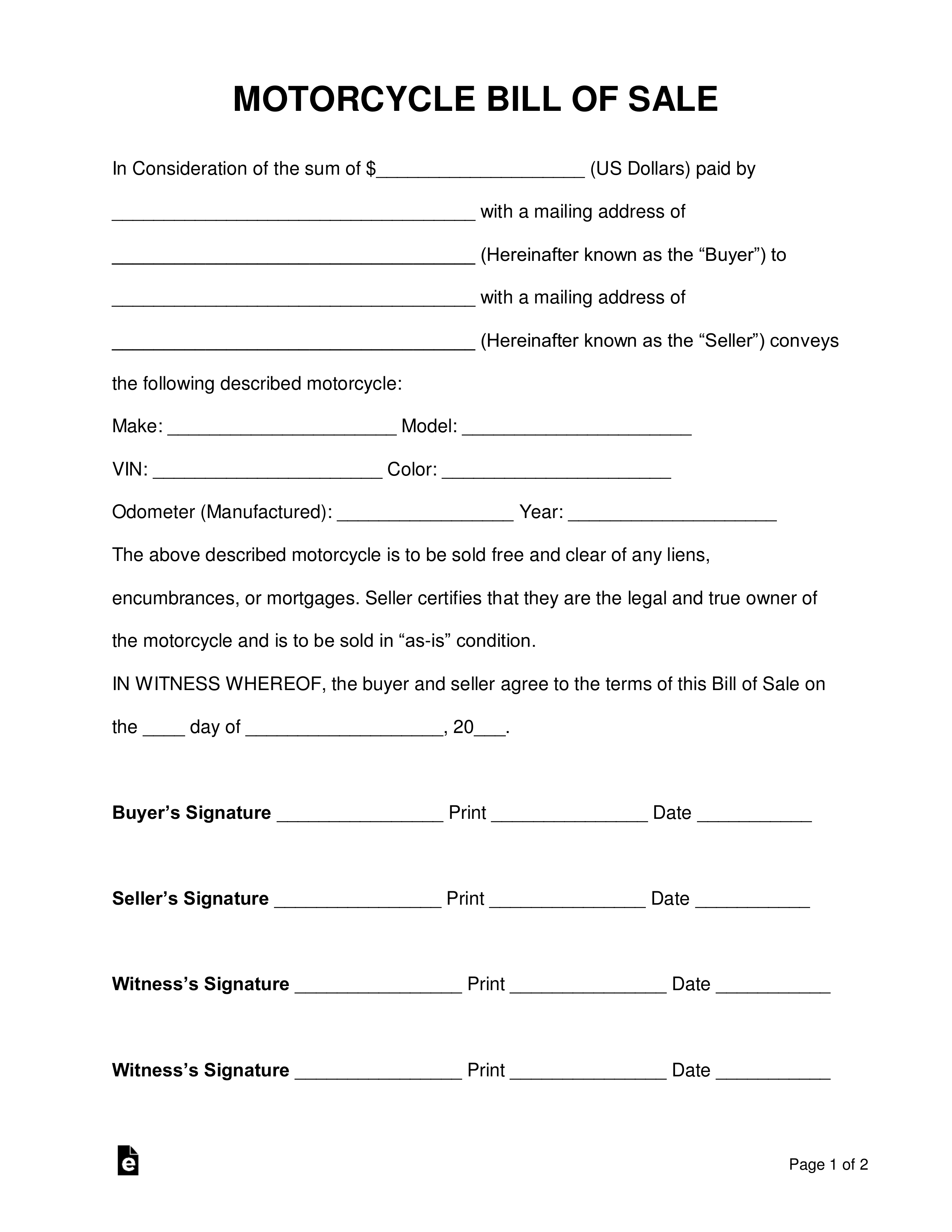 Free Motorcycle Bill Of Sale Form - Pdf | Word | Eforms