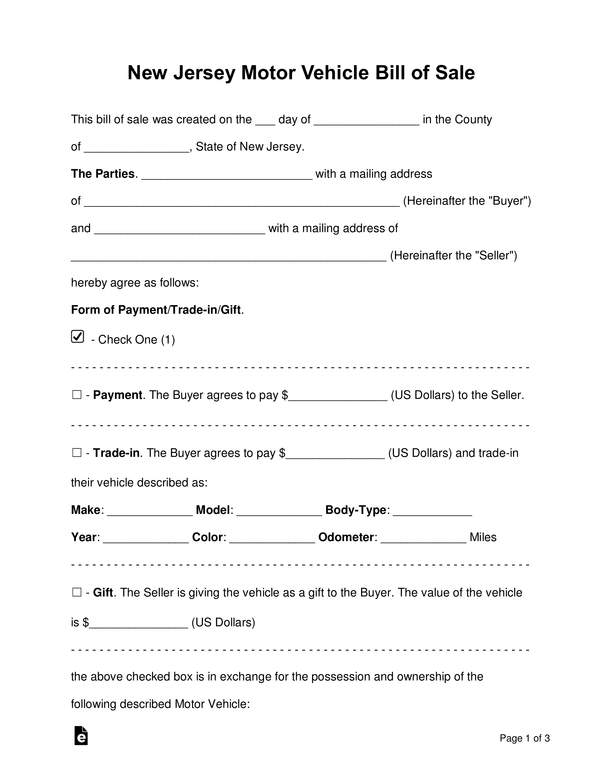 Free New Jersey Bill Of Sale Forms - Word | Pdf | Eforms