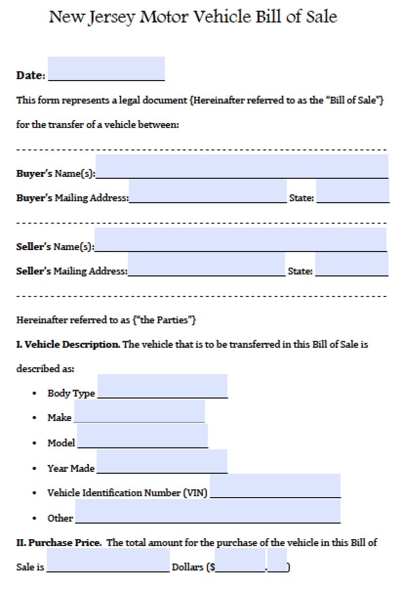 Free New Jersey Motor Vehicle (Car/auto) Bill Of Sale Form