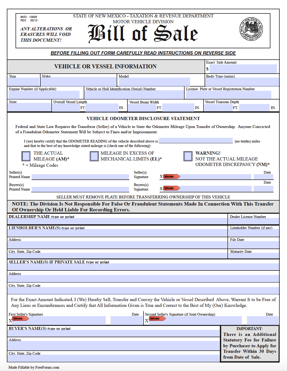Free New Mexico Bill Of Sale Forms | Pdf