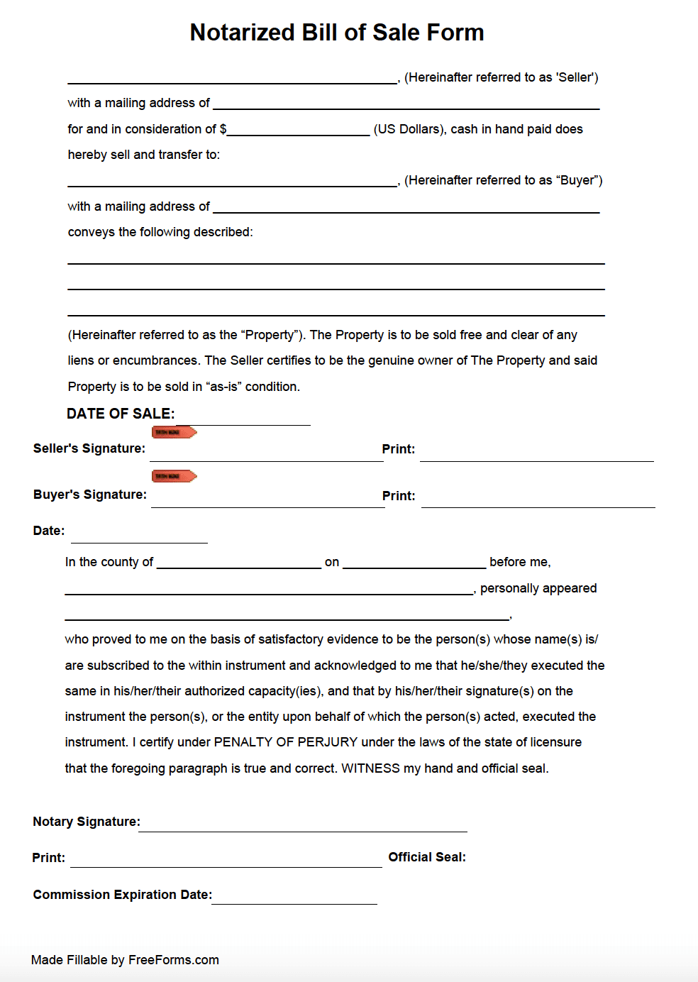 Free Notarized Bill Of Sale Form | Pdf