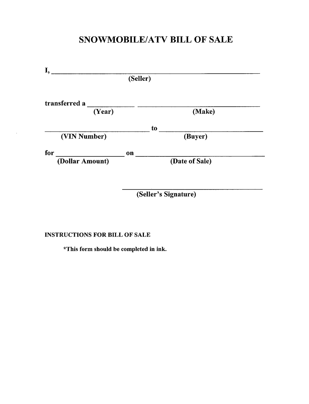 Free Printable Bill Of Sale Templates Form (Generic