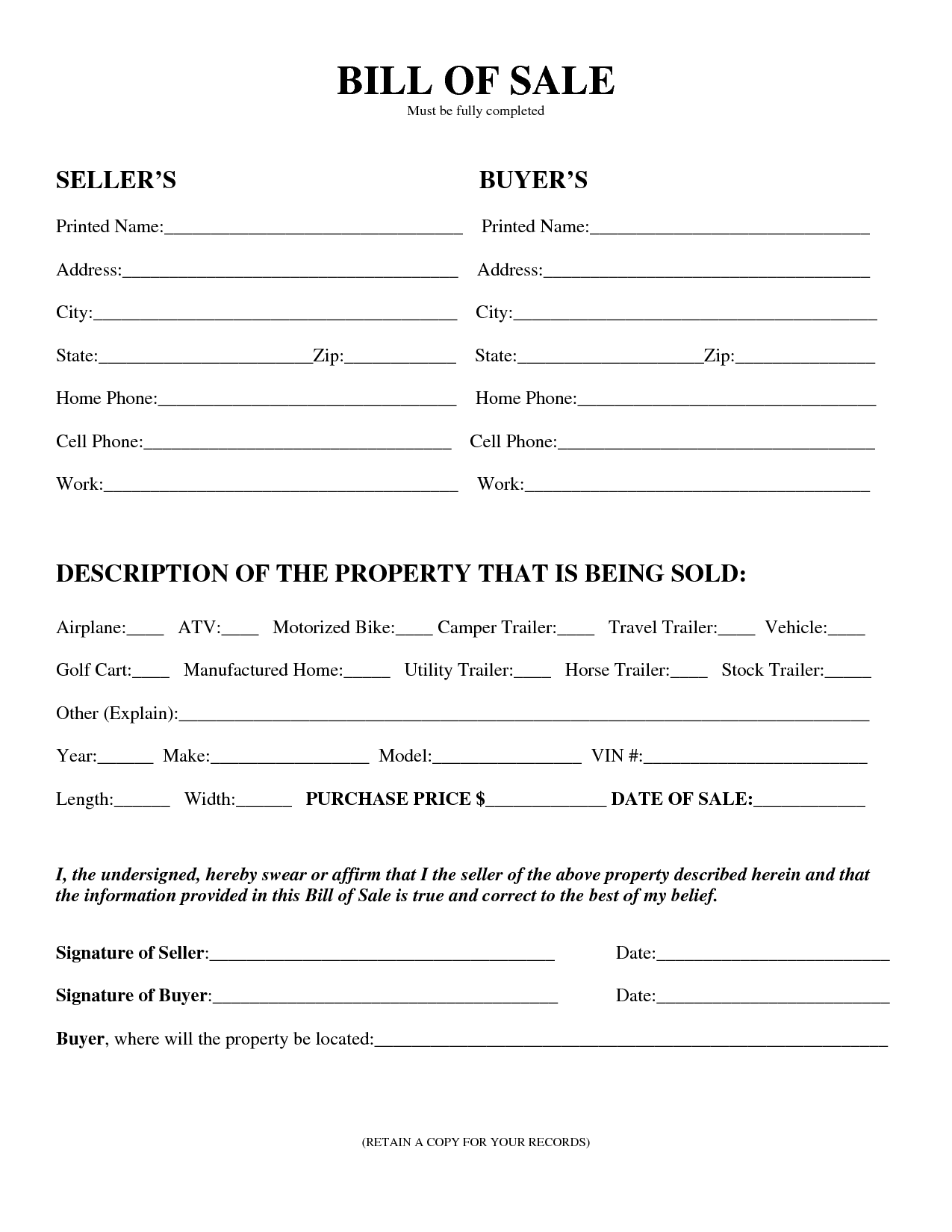 Free Printable Equipment Bill Of Sale Template Form (Generic