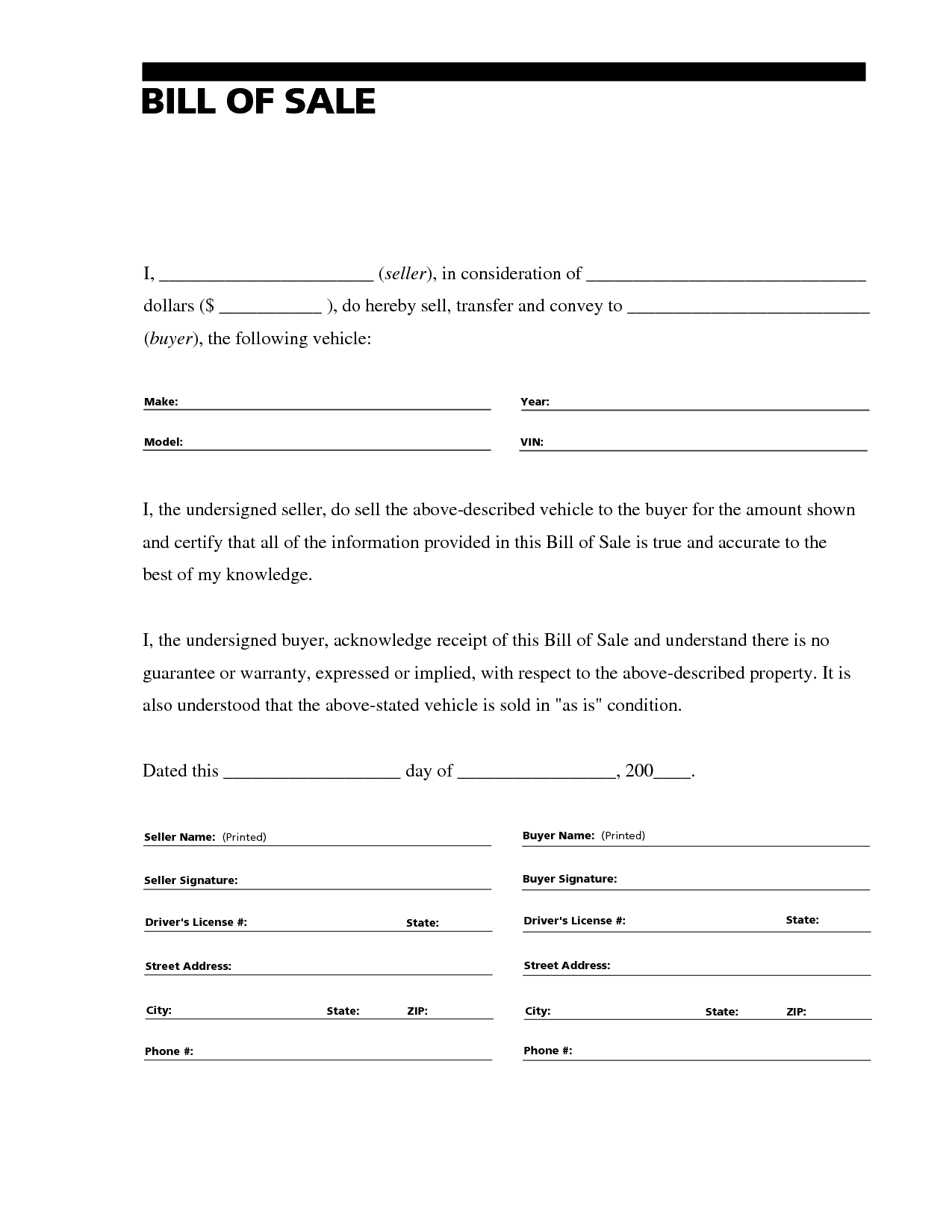 Free Printable Free Car Bill Of Sale Template Form (Generic
