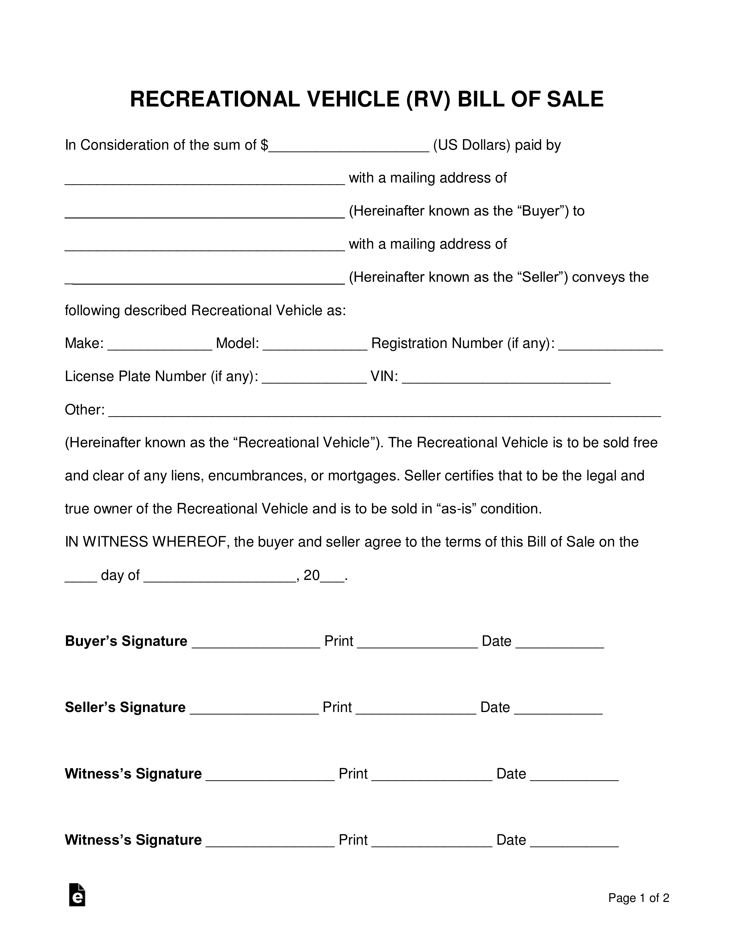 Free Recreational Vehicle (Rv) Bill Of Sale Form - Word