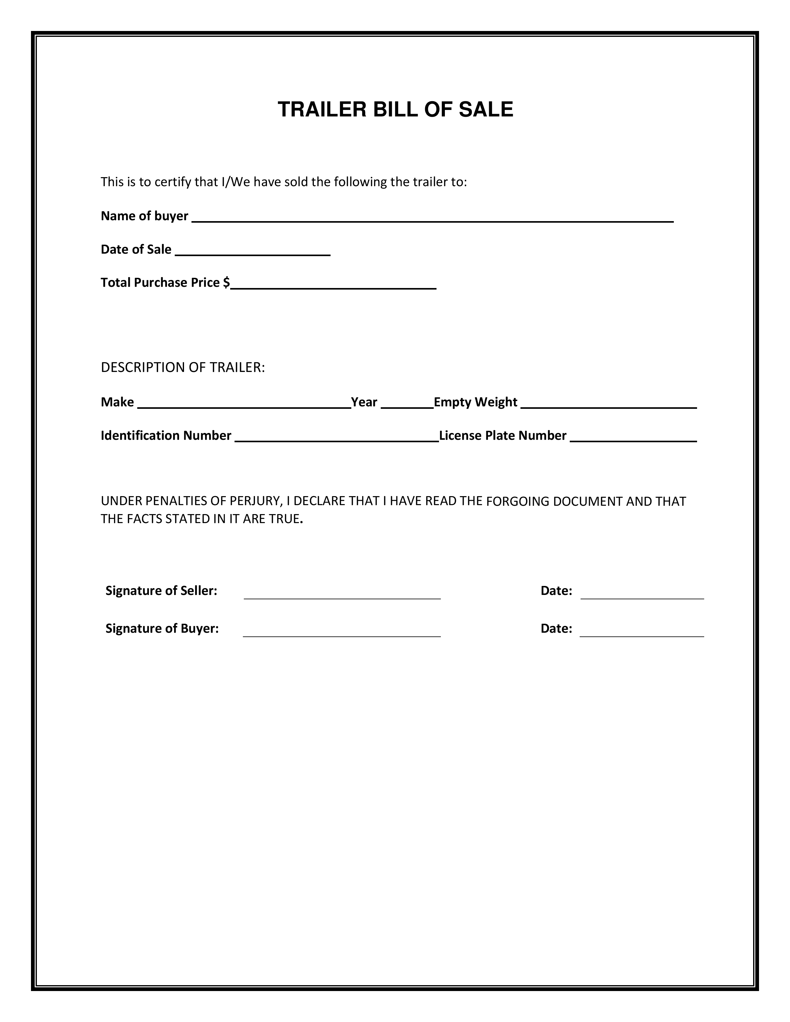 Free Trailer Bill Of Sale Form | Pdf Template | Form Download