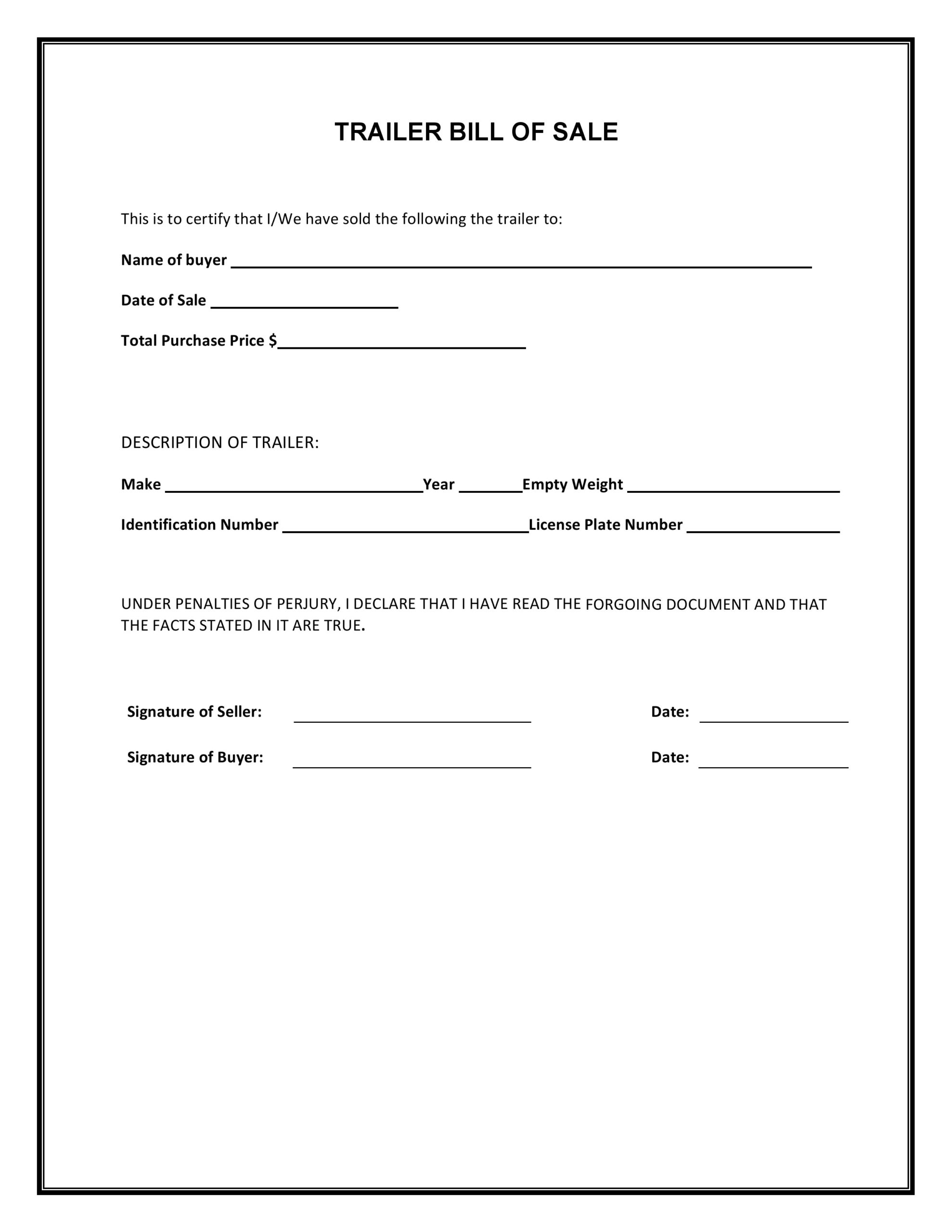 Free Trailer Bill Of Sale Form   Pdf   Word   Do It Yourself