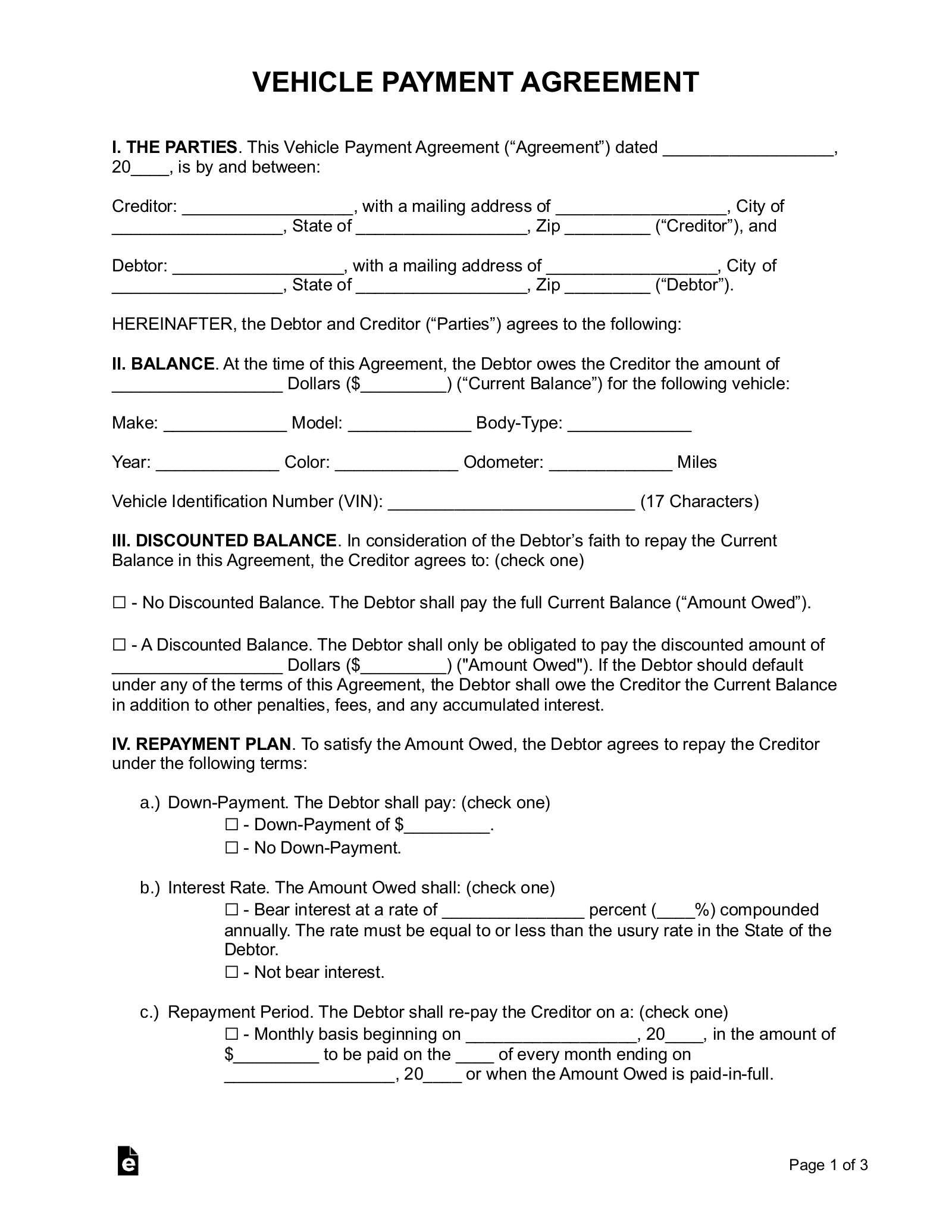 Free Vehicle Payment Plan Agreement - Pdf | Word | Eforms