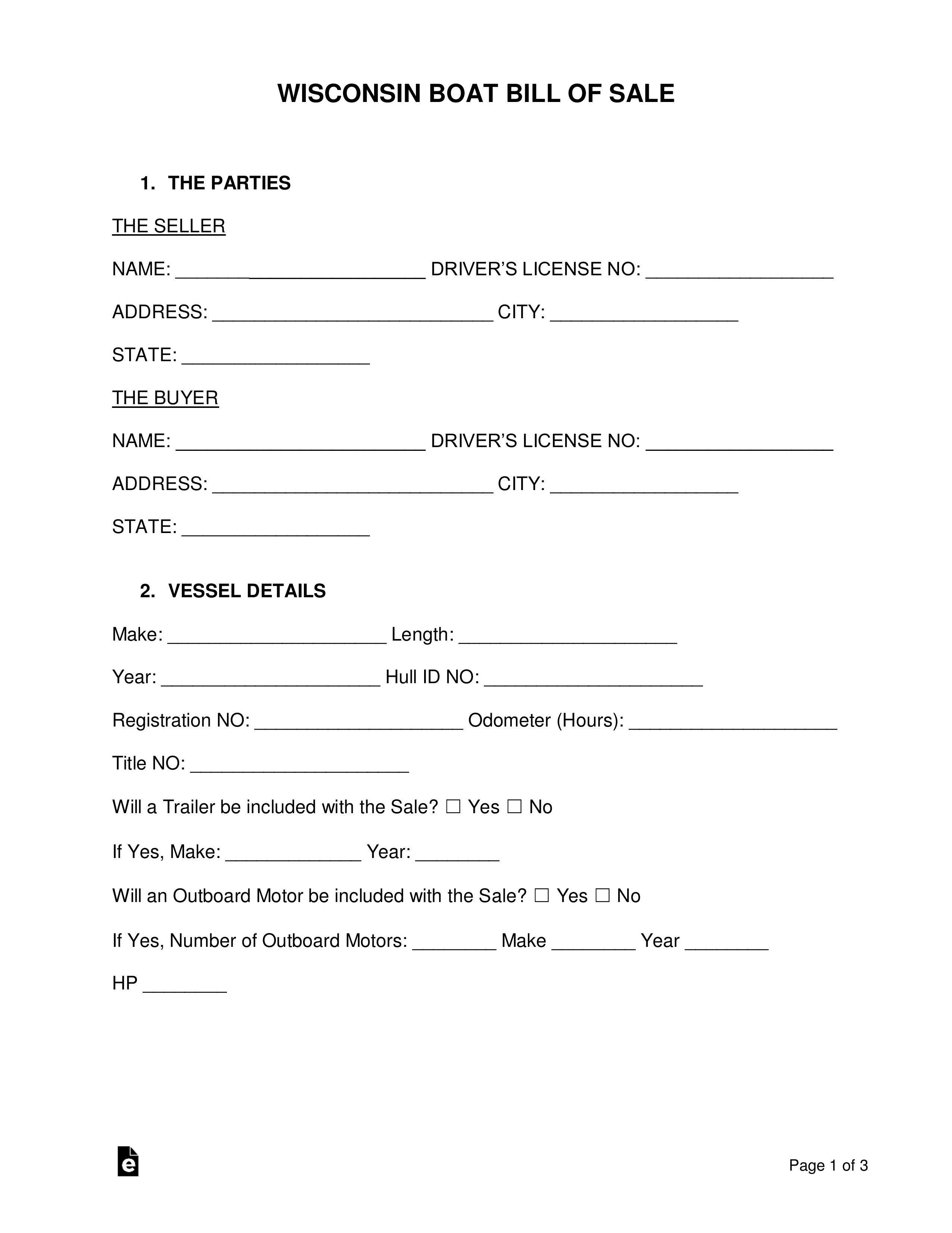 Free Wisconsin Boat Bill Of Sale Form - Word | Pdf | Eforms