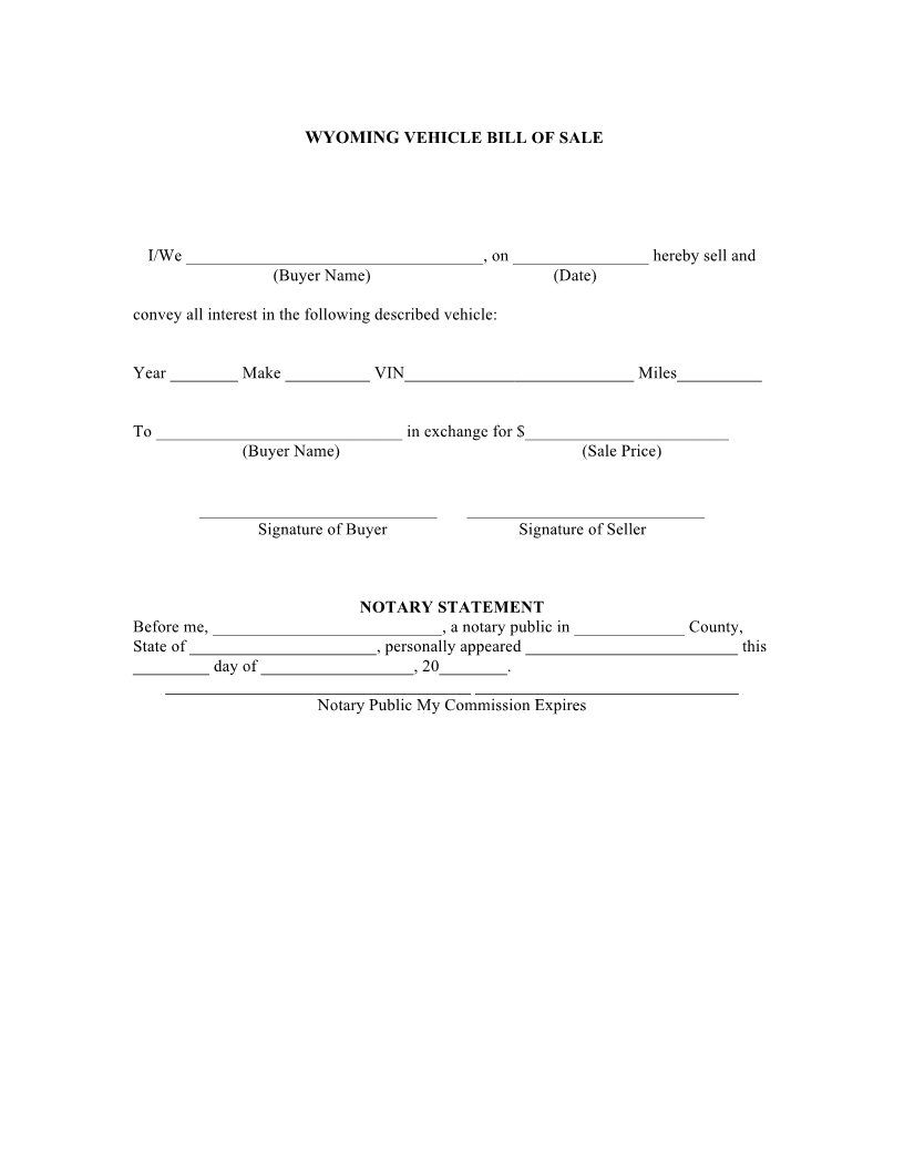 Free Wyoming Bill Of Sale Forms - Download Pdf | Word