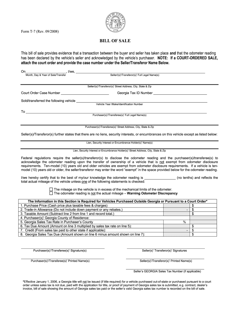 Georgia Bill Of Sale - Fill Out And Sign Printable Pdf Template | Signnow