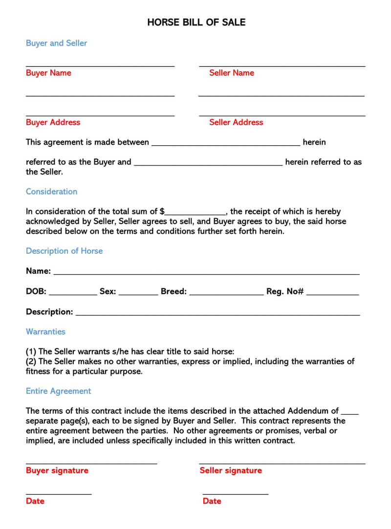 Horse Bill Of Sale (Free Forms & Templates) Word | Pdf