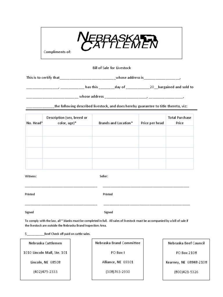 Livestock Bill Of Sale Form - 4 Free Templates In Pdf, Word
