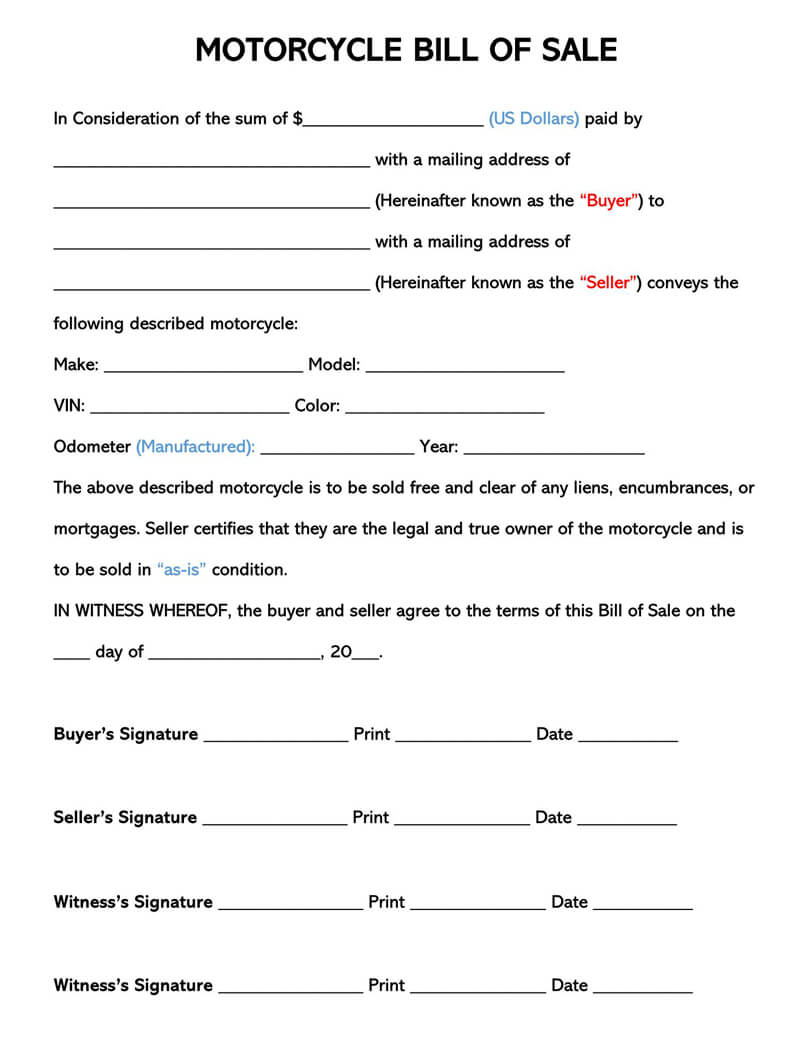 Motorcycle Bill Of Sale (Free Forms & Templates) Word | Pdf
