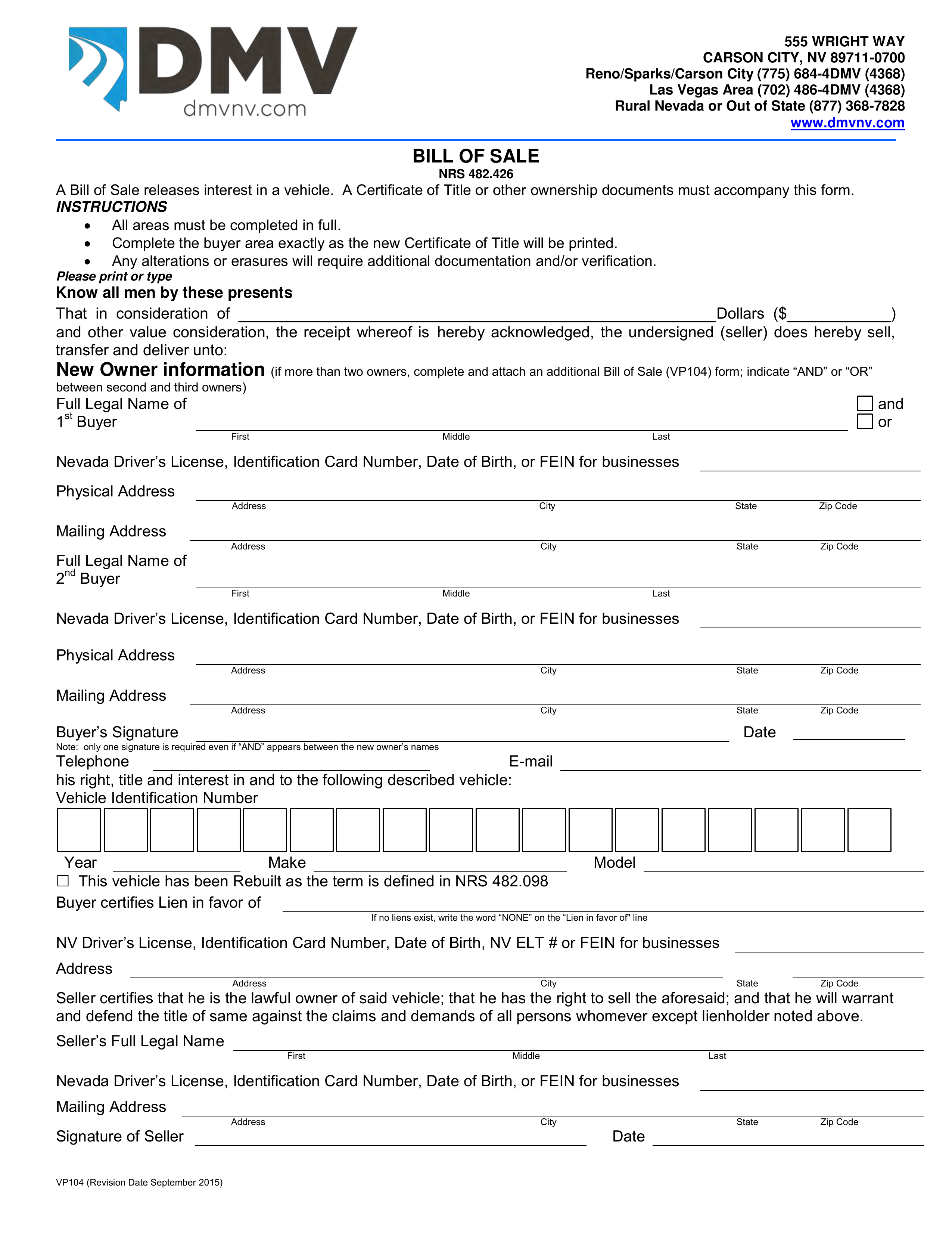 Nevada Vehicle Bill Of Sale | Form Vp-104 | Eforms – Free