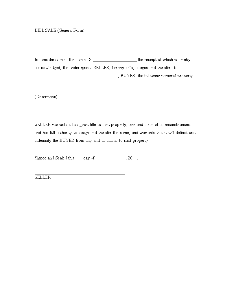 Printable General Bill Of Sale | Templates At