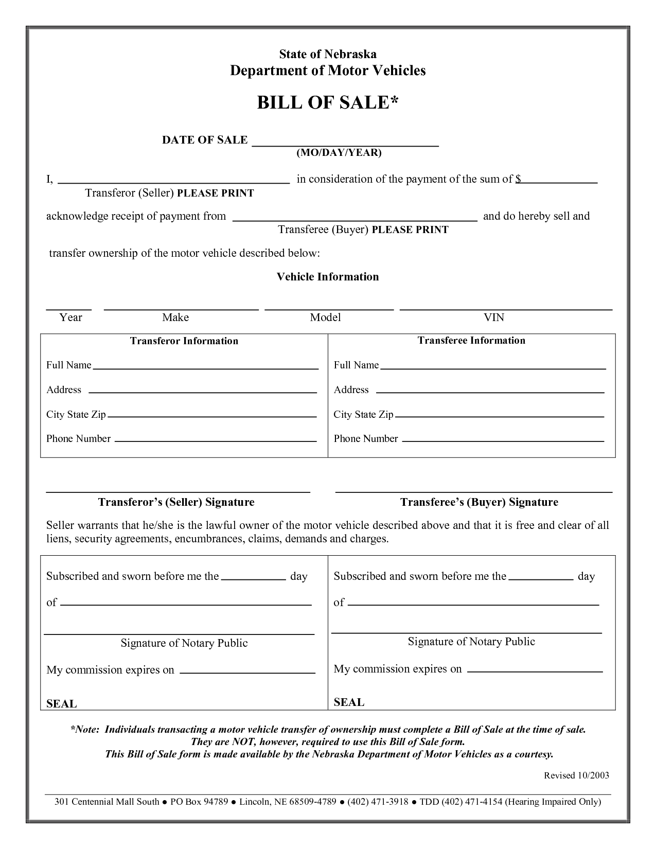 Printable Sample Vehicle Bill Of Sale Template Form | Bill