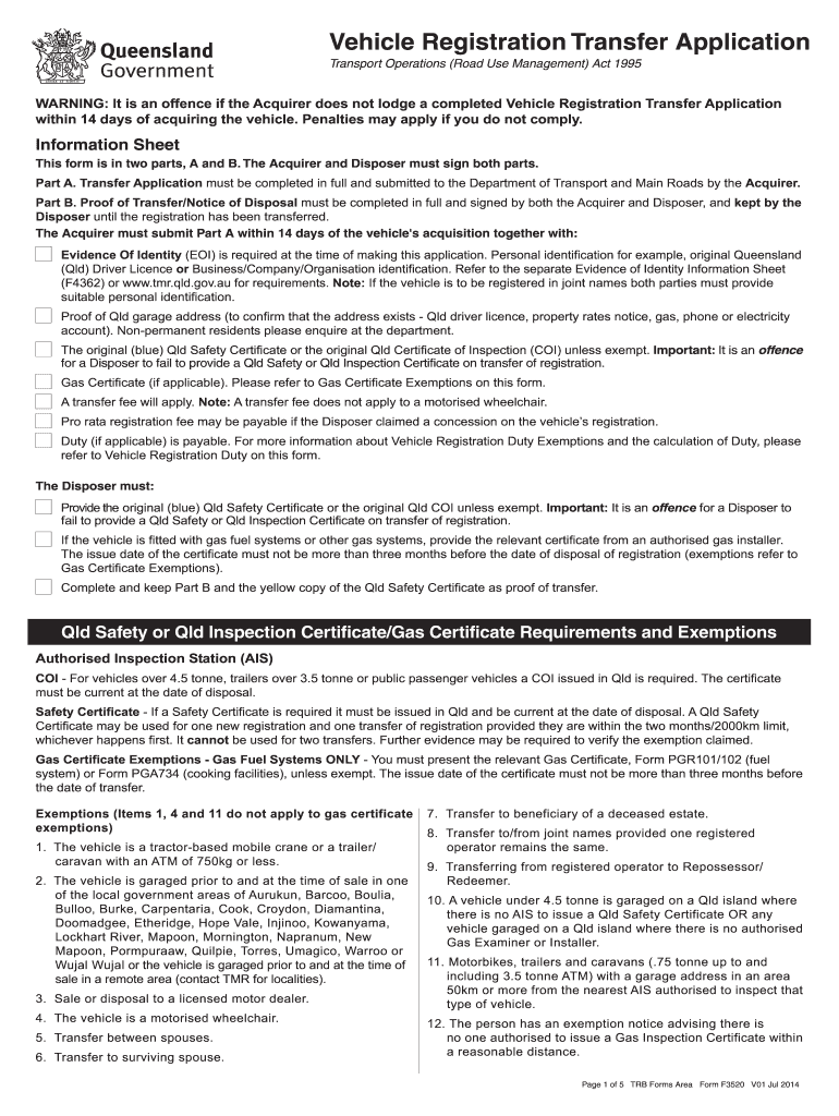 Qld Rego Transfer Form Pdf - Fill Out And Sign Printable Pdf Template |  Signnow