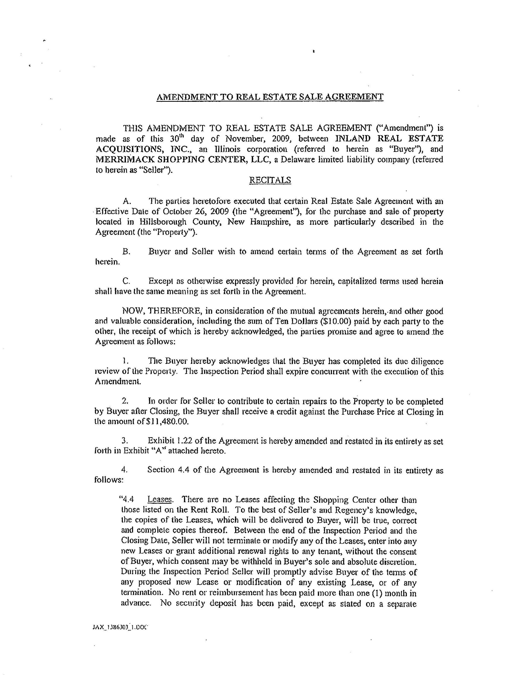 Real Estate Sale Agreement