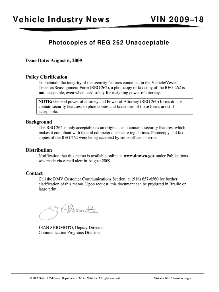 Reg 262 - Fill Out And Sign Printable Pdf Template   Signnow