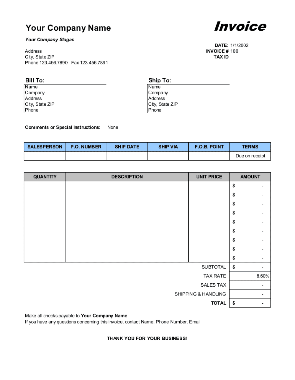 Sales Invoice - Excel Template |Business-In-A-Box™
