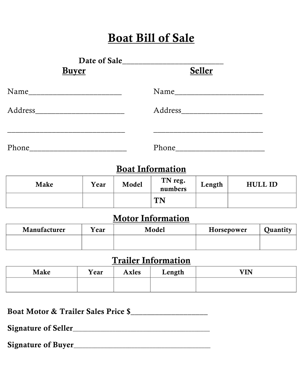 Tennessee Boat Bill Of Sale Download Fillable Pdf