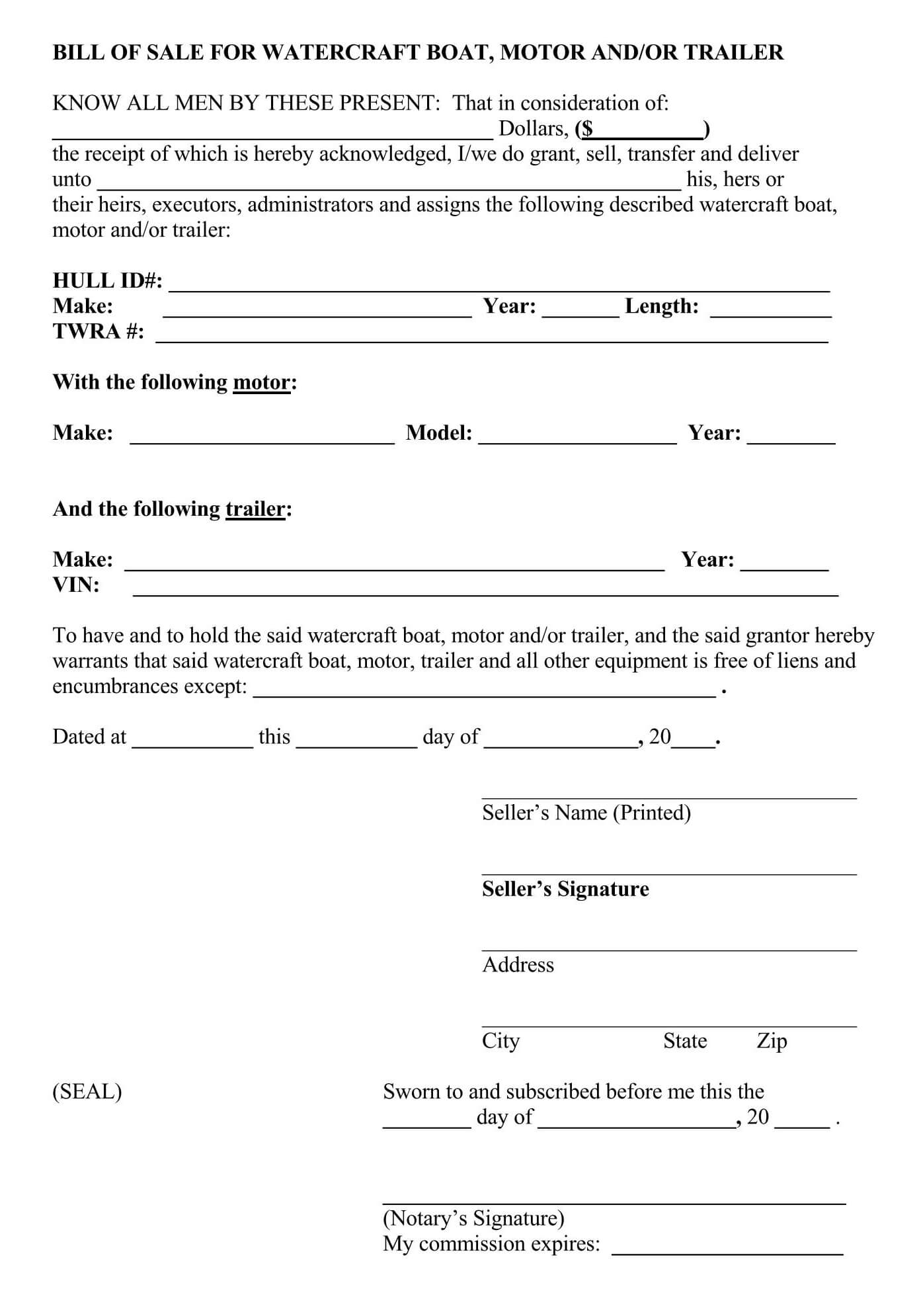 Trailer Bill Of Sale Form (Free Forms & Templates)