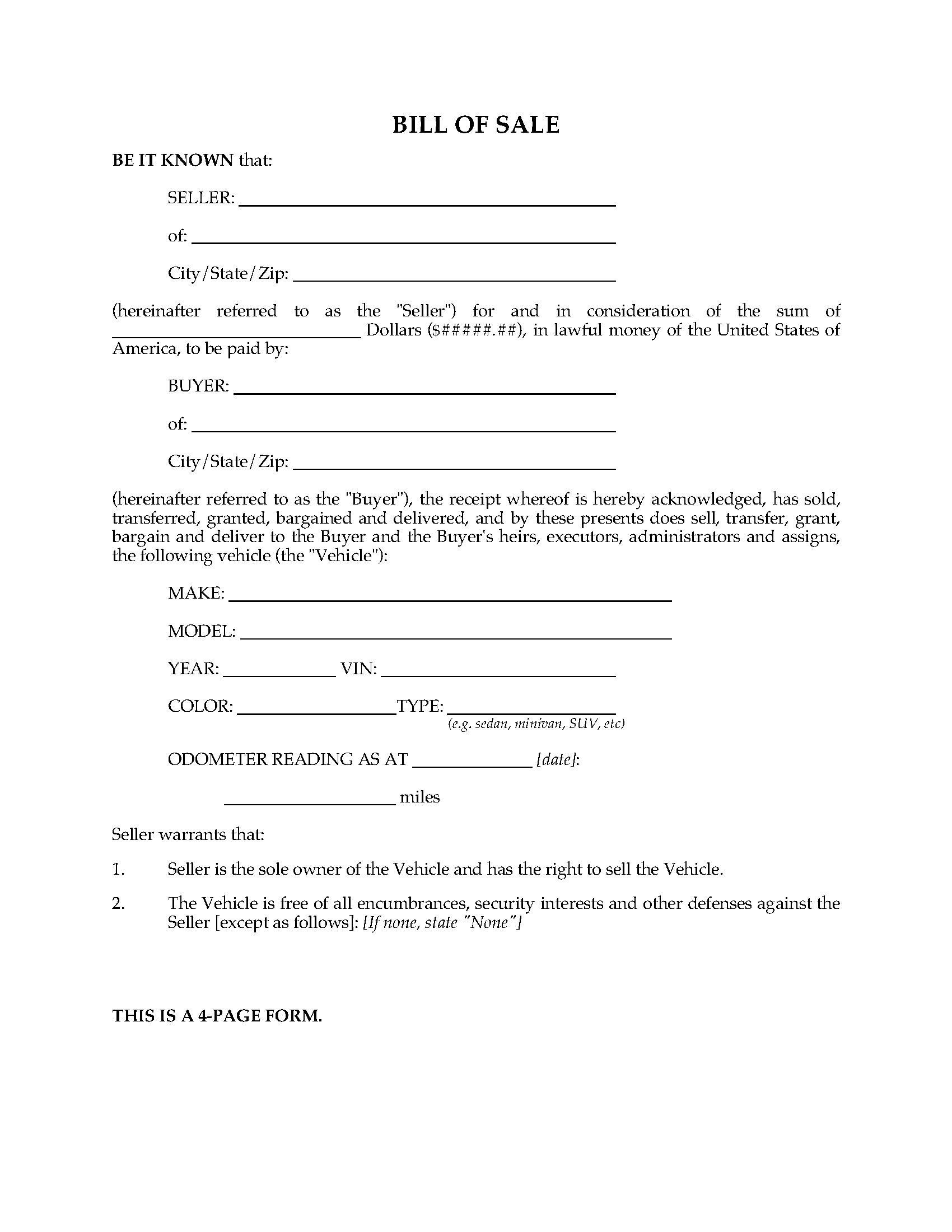 Usa Bill Of Sale For Vehicle