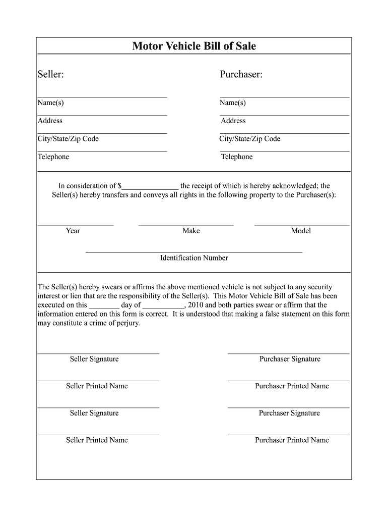 Vehicle Bill Of Sale Template Fillable Pdf - Fill Online